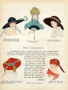 Georgette (Millinery) 1922 Straw Hat, Fan, Fashion Illustration, Pochoir