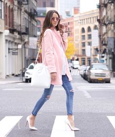 Something Navy in Goodnight Macaroon Pink Coat #ootd fall outfit style fashion