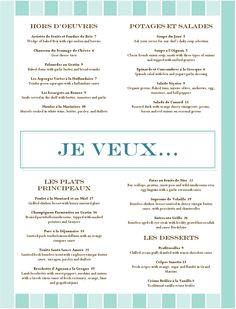 French Food Restaurant Menu - to understand & practice speaking,ordering French Restaurant Menu, French Restaurants, French Phrases, French Words, French Language Learning, Language Lessons, Teaching French, How To Speak French, Recipes
