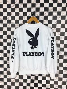 cfa60d1e0335ab Vintage 90s PLAYBOY Bunny Sweatshirt White Women Medium Streetwear Jumper  Playboy Big Logo Pullover Hipster Cropped Sweater Size M