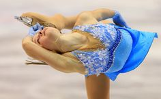 Julia Lipnitskaia of Russia skates during the ladies short program 2013 Skate Canada Blue Figure Skating / Ice Skating dress inspiration for Sk8 Gr8 Designs.