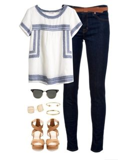 Cute loose white top and skinny jeans. Stitch fix ideas
