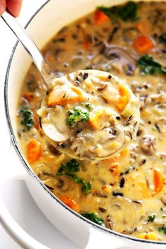 This Cozy Autumn Wild Rice Soup is the perfect fall comfort food! It's easy to make in the Instant Pot (pressure cooker), Crock-Pot (slow cooker), or on the stovetop. It's loaded with sweet potato, kale, mushrooms and other autumn veggies. It's easy to make gluten-free or vegan, if you would like. And it's SO delicious. | Gimme Some Oven #soup #dinner #vegetarian #glutenfree #vegan #comfortfood Pan Seared Salmon, Tomato Cream Sauces, Dried Tomatoes, Sun Dried, Cheeseburger Chowder
