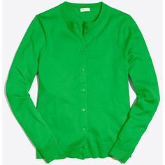 J.Crew Cotton Caryn cardigan sweater ($33) ❤ liked on Polyvore featuring tops, green top, long sleeve tops, j crew tops and green long sleeve top