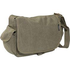 Everest Cotton Canvas Messenger Bag - Olive