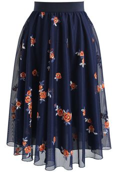 Trig Florets Mesh Midi Skirt in Navy- New Arrivals - Retro, Indie and Unique Fashion