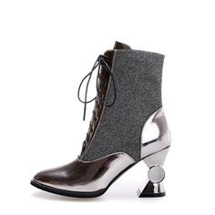 87.00$  Buy now - http://alikzs.worldwells.pw/go.php?t=32705346826 - fashion ladies woman shoes ankle boots sapatos femininos lace-up woman party shoes Strange Style Glitter 87.00$