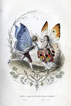 Illustration by Pierre Amédée Varin (1818-1883) of the butterfly people from Les Papillons, métamorphoses terrestres des peuples de l'air (1862), a book by Eugène Nus and Antony Méray.