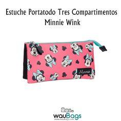 """Descubre en waubags.com el bonito Estuche Portatodo """"Minnie Wink"""" de Disney con 3 compartimentos cerrados con cremallera, para una mejor organización.  @waubags.com #disney #minnie #estuche #portatodo  #waubags"""