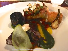 Sublime pork belly, cheek, back pudding, lovage pickled apple at @thecrossken #delicious