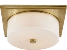 Visual Comfort TOB4216HAB-WG Thomas O'Brien Newhouse Circular Flush Mount in Hand-Rubbed Antique Brass with White Glass | FoundryLighting.com