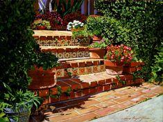 A Spanish Garden Print By David Lloyd Glover Spanish Backyard, Spanish Garden, Spanish Style Homes, Spanish House, Mexican Style Homes, Hacienda Style Homes, Spanish Style Decor, Spanish Bungalow, Spanish Tile