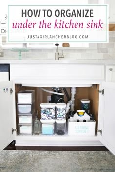 Home Organization- How to Organize Under the Kitchen Sink Kitchen Organization Organized Kitchen organized cleaning supplies organizing underneath the sink cabinet organization organized organizing decluttering Under Kitchen Sink Organization, Bathroom Cabinet Organization, Sink Organizer, Kitchen Organization, Organized Kitchen, Kitchen Storage, Kitchen Cleaning, Bathroom Cabinets, Organizers