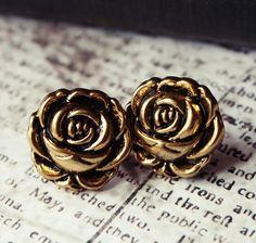 #earrings #roses #gold