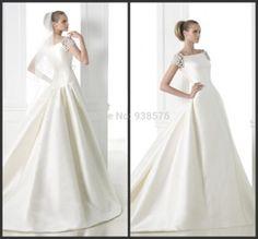 Modest White High Neck Ball Gown Wedding Dresses