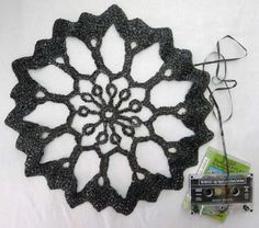 Crocheted Cassette Tape Motif ~ awesome upcycling