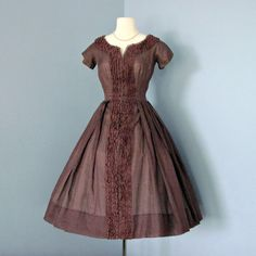 Vintage Brown Day Dress... Vintage 1950s David Hart Chocolate Brown Cotton Day Dress. $105.00, via Etsy.
