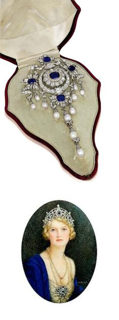 THE PORTLAND ANTIQUE SAPPHIRE, DIAMOND, AND NATURAL PEARL STOMACHER BROOCH. The rectangular-shaped sapphire within old-cut diamond surround to the four sapphire and diamond foliate clusters with ribbon surmount, suspending a series of natural pearl pendent drops with a detachable triple pearl drop to the center, mounted in silver and gold, circa 1880, 15.0cm long, in original burgundy velvet fitted case by Garrard & Co. Bottom: Ivy Cavendish-Bentinck, Duchess of Portland, wearing the brooch.