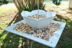 Bird Feeder / Bird Bath - DIY with bowl and plate