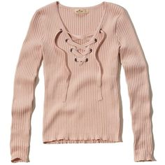 Hollister Lace-Up Ribbed Sweater ($40) ❤ liked on Polyvore featuring tops, sweaters, pink, lace up front top, lace up top, lace front sweater, rib sweater and eyelet top