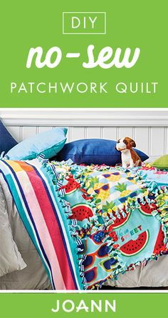 For a sweet and simple quilting project, check out this DIY No-Sew Patchwork Quilt from JOANN. Easily customized with fun summer patterns, the tutoria. For a sweet and simple quilting project, check out this DIY No-Sew Patchwork Quilt from J No Sew Fleece Blanket, No Sew Blankets, Rainbow Dash, Half Square Triangle Quilts Pattern, Fleece Crafts, Discount Fabric Online, Costura Diy, Quilts Online, Sewing Shirts