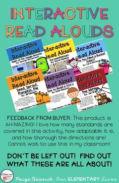Interactive Read Alouds are one of the most important activities you can do in your classroom.  Perfect for kinder through eight grade, reading aloud is vital in supporting your child's learning.  The feedback says it all, these resources have easy to follow lesson plans, detailed directions and are incredible thorough.  Click here to see all the wonderful books and resources.