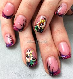 Gel overlay with hand painted flowers.  #floralnaildesign #floralnailart  #floral #handpaintedflowers #pinkandwhites #frenchnails #gelnails #nailart #handpaintednails #naildesign #nails #lisakorallus #liquidglamour #nailpictures #onestrokepainting #nailsofpinterest