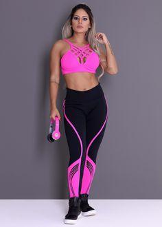 264b9b64d304 Legging Marathon com Estampa Emborrachada em Suplex Poliamida - Donna  Carioca - Moda fitness com preço de fábrica