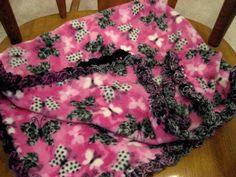Butterflies Print Fleece Baby Girl Blanket Pink Black & Gray Shell Crochet Edge