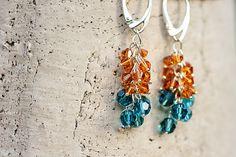 Summer Cluster Earrings Beadwork Swarovski Crystal Earrings Orange Blue Summer Fashion Jewelry via Etsy