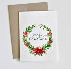 Hand painted Watercolor Christmas Card watercolor by sanketi More
