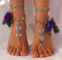 Rainbow SPIRAL BAREFOOT SANDALS feathers foot jewelry hippie sandal toe anklet crochet sandals tribal festival beach ethnic yoga wedding