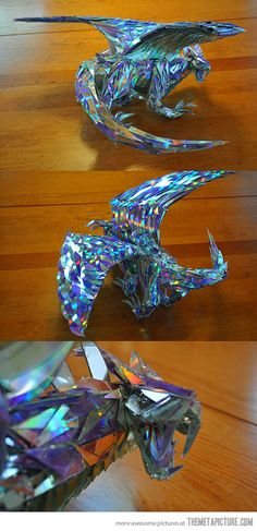 A dragon sculpture made out of CD shards