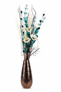Teal Silk Flower Arrangement Black Vase 1 Metre Tall