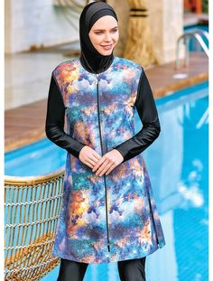 Adasea 2047 Full Cover Burkini Swimsuit is part of our stylish set of 2019 Spring - Summer collection Adasea 2047 Full Cover Burkini Swimsuit details, Islamic Swimwear, Muslim Swimwear, Modest Fashion, Hijab Fashion, Hijab Trends, Modest Swimsuits, Red Swimsuit, Crochet Cardigan, Summer Collection