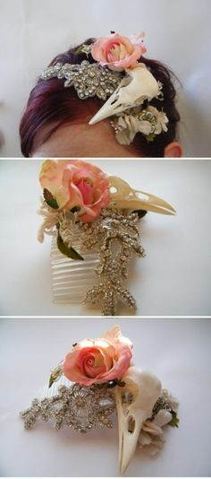 "If you're planning a rock 'n roll wedding, today is your lucky day. Caroline used a raven's skull, amongst other vintage pieces to create a headband to wear at her brother's wedding.  ""I made this headpiece to wear to my brothers wedding in Tuscany, Italy. I had bought a really pretty vintage dress, very demure and ladylike and i wanted to give it a bit of a funky edge. So I thought, what's edgier than a skull?"""