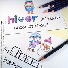 French Emergent Reader - EN HIVER - great for French Immersion - français French Teaching Resources, Teaching French, Winter Activities, Classroom Activities, Read In French, French Stuff, Core French, French Classroom, French Immersion