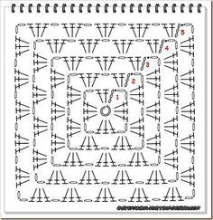 solid granny square crochet pattern - Google Search