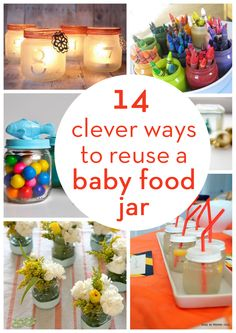 great ideas to repurpose empty baby food jars! Crafts With Glass Jars, Mason Jar Crafts, Bottle Crafts, Mason Jars, Glass Craft, Candle Jars, Baby Jars, Baby Food Jars, Food Baby