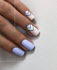 Lovely Early Spring Short Nails Art Design And Colors Ideas - Page 109 of 109 - Nageldesing - Nageldesign Nails Yellow, Nail Art Blue, Periwinkle Nails, Blue Matte Nails, White Nails, Nail Design Glitter, Nails Design, Nail Design For Short Nails, Blue Nails With Design