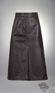Vintage 80´s Leather Black Midi Skirt Size M - Bichovintage - Vintage & Retro & Recycled - Clothing and Accesories - Online Store