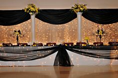 head table idea; I like the table, silver, blue or pink instead of black?