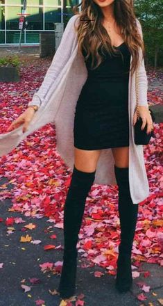 Valentines Date Night Going Out Thigh High Boots Outfit Ideas for Women Fall or Winter - Elegantes ideas para ropa de o Black Dress Outfits, Boho Outfits, Stylish Outfits, Fashion Outfits, Night Outfits, Women's Fashion, Fashion Boots, Girl Outfits, Classy Fall Outfits