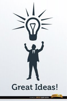 Poster showing silhouette of executive man with hands up in triumphant attitude with a light bulb of idea above his head. It can be perfect if you want to make a nice ad about creativity and ideas for business. High quality JPG included. Under Commons 4.0. Attribution License.