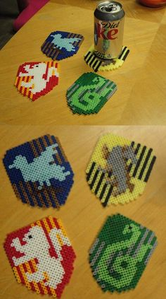 Harry Potter House Coasters perler beads by kiimberrr