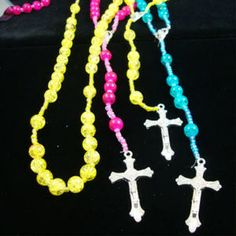 Neon Glass Beaded Rosary *** ONLY $0.60 EACH ***