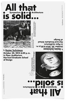 """deValence /// affiche pour l'université d'Harvard sur un nouveau cycle de conférences sur le design intitulé """"All that is solid... Symposium on Architecture"""""""