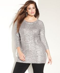 International Concepts Plus Size Sequin Open-Knit Sweater – Plus Size Sweaters – Plus Sizes – Macy's