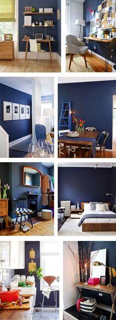 En ce moment, j'ai très envie d'un mur bleu marine. Ce n'est pas l'ordre du jour pour le moment car je suis locataire de mon appartement mais j'imagine bien un mur ble…