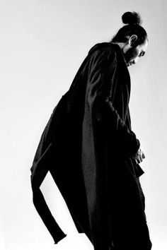 silhouette / men bun, bearded, black